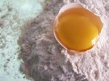 Yema de huevo en harina fotos de archivo