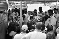 Yemanjá Party. In Salvador, Bahia, Iemanjá Party Pai de Santo a candomble blessing mentor Royalty Free Stock Photo