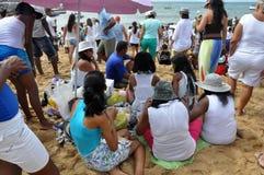 Yemanjá Party. In Salvador, Bahia, Iemanjá Party Candoblé espiritual ritual Royalty Free Stock Photography