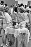 Yemanjá Party. In Salvador, Bahia, Iemanjá Party Pai de Santo a candomble blessing mentor Royalty Free Stock Image