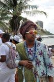 Yemanjá Party. In Salvador, Bahia, Iemanjá Party Pai de Santo a candomble blessing mentor Stock Photography