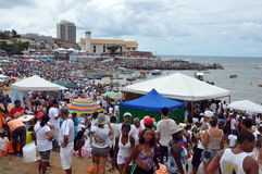 Yemanjá Party. In Salvador, Bahia, Iemanjá Party Candoblé espiritual ritual, people ofers gift to prove their faith. The most given is flowers and the Yemanja Stock Image