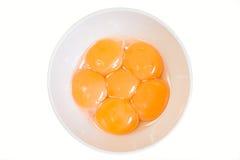 Yemas de huevo en un tazón de fuente Imagen de archivo