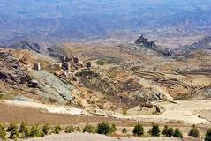 Yemen. Classical landscape with traditional mountain villages in Eastern Haraz, Yemen Stock Photography