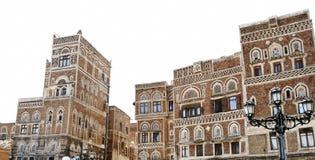 yemen Architecture traditionnelle de vieille ville à Sanaa Photos stock