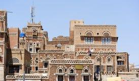 yemen Architecture traditionnelle de vieille ville à Sanaa Photographie stock libre de droits