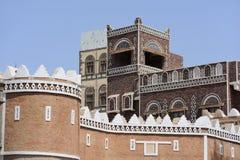 yemen Architettura tradizionale di vecchia città a Sanaa immagine stock libera da diritti