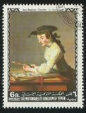 Draughtsman. YEMEN - CIRCA 1968: stamp printed by Yemen, shows Draughtsman by Jean Baptiste Chardin, circa 1968 Royalty Free Stock Photography