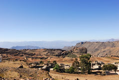 Yemen. Classical landscape with traditional mountain villages and rural fields in Yemen Royalty Free Stock Photography