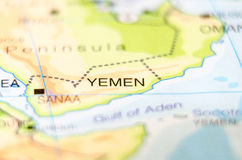 Yemen country on map Royalty Free Stock Images