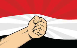 Yemen fight protest symbol with strong hand and flag as background Royalty Free Stock Photos