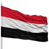 Yemen Flag on Flagpole. Flying in the Wind, Isolated on White Background Stock Photos