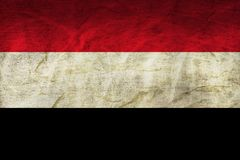 Yemen Flag on Paper. Flag on an old Paper Texture Stock Photography