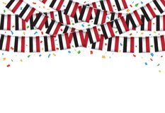 Yemen flags garland white background with confetti, Hang bunting for Yemeni,. Independence Day celebration template banner, Vector illustration Royalty Free Stock Photography