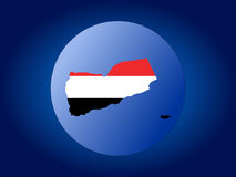 Yemen globe. Map and flag of Yemen globe illustration Stock Image