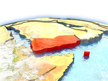 Yemen on globe Stock Photography