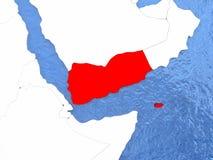 Yemen on globe Stock Images
