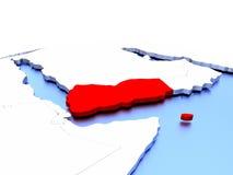Yemen on globe Royalty Free Stock Photos