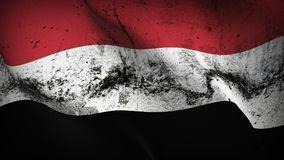 Yemen grunge dirty flag waving on wind. Yemeni background fullscreen grease flag blowing on wind. Realistic filth fabric texture on windy day Stock Photo