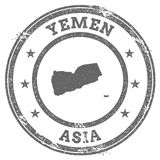Yemen grunge rubber stamp map and text. Stock Images