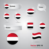 Yemen icon set of flags Royalty Free Stock Images