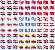 Yemen, Korea North, Turkey, Georgia, Antarctica, French Polynesia, Paraguay, Ecuador, Syria. Big set of 81 flags. Royalty Free Stock Photo