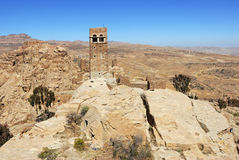 Yemen. Landscape of mountain Yemen in Eastern Haraz. Old fortress against blue sky. View from Thula village Stock Photos