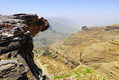 Yemen landscape, Plateau Bokur. An edge of the cliff hungs over abyss 800 meter deep.  Plateau Bokur, Yemen Royalty Free Stock Images