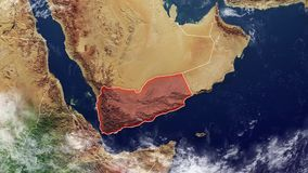 Yemen map and borders stock video footage