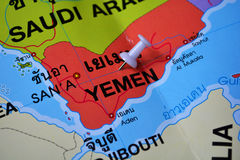 Yemen map. Macro shot of yemen map with push pin Royalty Free Stock Photography