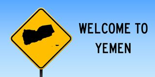 Yemen map on road sign. Wide poster with Yemen country map on yellow rhomb road sign. Vector illustration royalty free illustration
