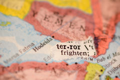 Yemen map with terror Stock Photo