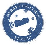 Yemen map. Vintage Merry Christmas Yemen Stamp. Stylised rubber stamp with county map and Merry Christmas text, vector illustration Royalty Free Stock Photos