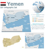 Yemen maps with markers Stock Photography