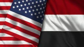 Yemen och USA sjunker - 3D flaggan för illustrationen två stock illustrationer