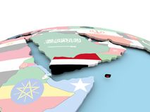 Flag of Yemen on bright globe. Yemen on political globe with embedded flags. 3D illustration Stock Photography