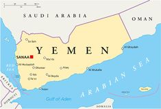 Yemen Political Map. With capital Sanaa, national borders and most important cities. English labeling and scaling. Illustration royalty free illustration