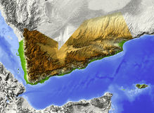 Yemen, relief map Stock Images