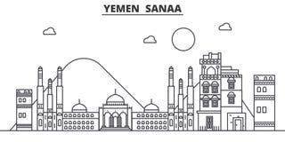 Yemen, Sanaa architecture line skyline illustration. Linear vector cityscape with famous landmarks, city sights, design. Icons. Editable strokes vector illustration