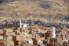 Yemen. Sanaa. Yemen, the old city of Sanaa. Inhabited for more than 2.500 years at an altitude of 2.200 m, the Old City of Sanaa is a UNESCO World Heritage City Stock Photography