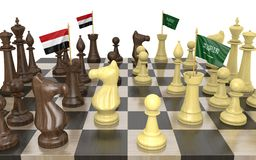 Yemen and Saudi Arabia war strategy and power struggle, 3D rendering. Yemen and Saudi Arabia strategic relations and power struggles represented by a chess game royalty free illustration