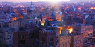 yemen Soluppgång i den gamla staden av Sanaa Arkivfoto
