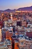 yemen Soluppgång i den gamla staden av Sanaa Royaltyfri Foto