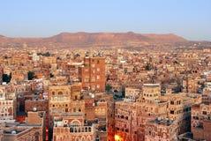 yemen Soluppgång i Sanaa Arkivbild