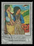 Girls from Brittany by Gauguin. Yemen - stamp 1968: Color edition on Art, Shows Painting Girls from Brittany by Gauguin Royalty Free Stock Photos