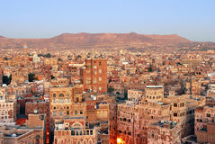 Yemen. Sunrise in Sanaa. Yemen. Sunrise in the old city of Sanaa. Inhabited for more than 2.500 years at an altitude of 2.200 m, the Old City of Sanaa is a Stock Photography