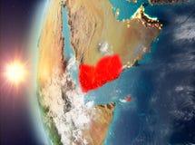 Yemen tijdens zonsondergang van ruimte Royalty-vrije Stock Foto