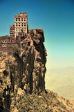 Yemen. Traditional mountain village in Eastern Haraz. Yemen. Cross processing from RAW file Royalty Free Stock Photos