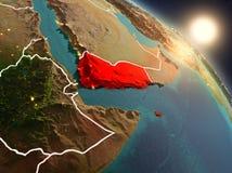 Yemen van ruimte tijdens zonsopgang Stock Foto's