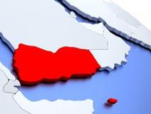 Yemen on world map Royalty Free Stock Photography